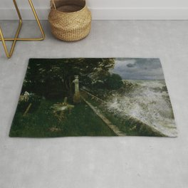 Lonely seaside cemetery during the coastal storm nor' easter martime landscape painting by Adolf Hirémy-Hirschl for home, bedroom, and wall decor Rug