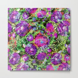 Abstraction with purple flowers. Metal Print