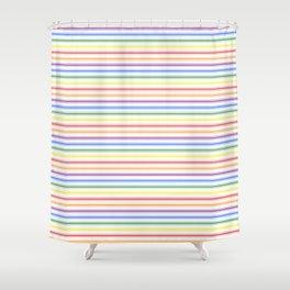 Split Rainbow Mattress Ticking Narrow Stripes Pattern Shower Curtain