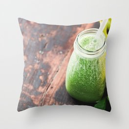 Close-up of green fresh smoothie with fruits, berries, oats and seeds, selective focus. Throw Pillow