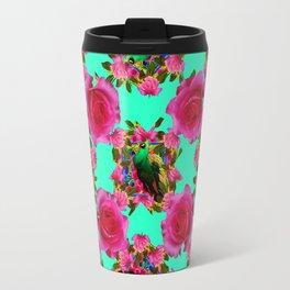 GREEN PEACOCK & PINK ROSE PATTERN ART Travel Mug