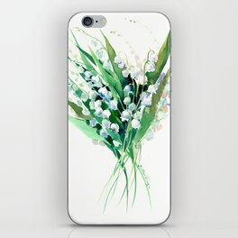 Lilies of the Valley. spring flowers, green white floral art iPhone Skin