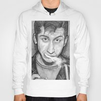 alex turner Hoodies featuring Alex Turner Drawing  by Not Too Shabby
