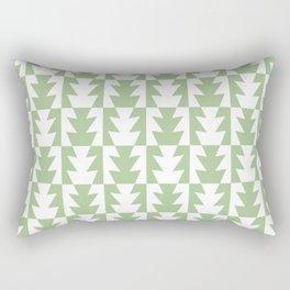 Art Deco Jagged Edge Pattern Sage Green Rectangular Pillow