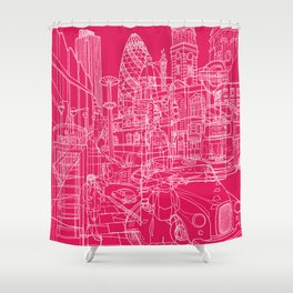 London! Hot Pink Shower Curtain
