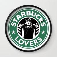 starbucks Wall Clocks featuring Starbucks Lovers by Renata Bernardes