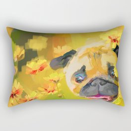 Pug in Daisies Rectangular Pillow