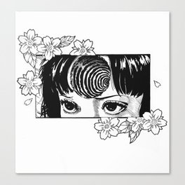 Junji Ito with cherry blossoms Canvas Print