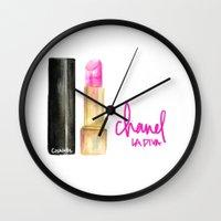 lipstick Wall Clocks featuring Lipstick by I Love Decor