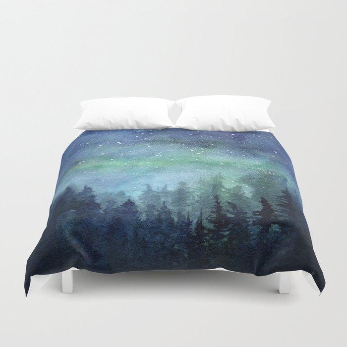 Watercolor Galaxy Nebula Northern Lights Painting Bettbezug