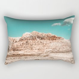 Vintage Red Rock Face // Desert Mountain in Winter Las Vegas Landscape Photograph Teal Sky Rectangular Pillow