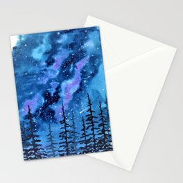 Blue Milky Way landscape, watercolor illustration Stationery Cards