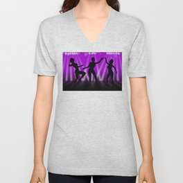 Dancing Girls On Purple With White Lights Unisex V-Neck