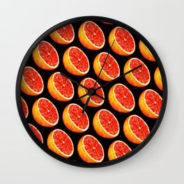 Grapefruit Pattern - Black Wall Clock