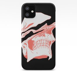 Liquify Skull in black and living coral iPhone Case