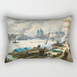 Notre Dame, River Seine, Paris Ile Saint-Louis with River Boats by Henri Alphonse Barnoin Rectangular Pillow