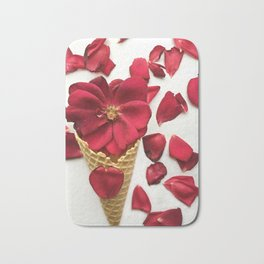 Red Flowers Red Roses Waffle Cone Kitchen Art Bath Mat
