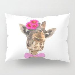 Giraffe funny animal illustration Pillow Sham