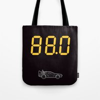 delorean Tote Bags featuring DeLorean by Adikt