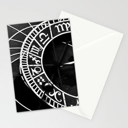 Astronomical clock of Prague, black and white travel photography Stationery Cards
