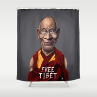 lama Shower Curtains featuring Celebrity Sunday ~ Dalai Lama (FREE TIBET SPECIAL) by rob art | illustration