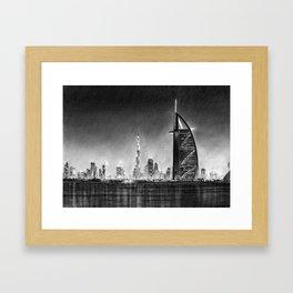 Dubai Cityscape Drawing Framed Art Print