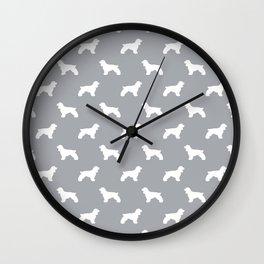 Cocker Spaniel grey and white minimal modern pet art dog silhouette dog breeds pattern Wall Clock