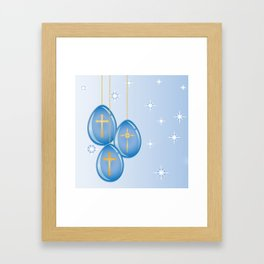 Shiny blue hanging eggs decorated with gold crosses Framed Art Print