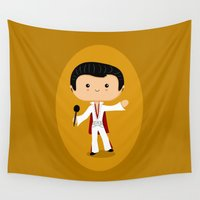 elvis presley Wall Tapestries featuring Elvis Presley by Sombras Blancas Art & Design