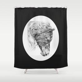 BLACK FRIESIAN HORSE HEAD Shower Curtain
