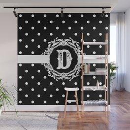 Black Monogram: Letter D Wall Mural