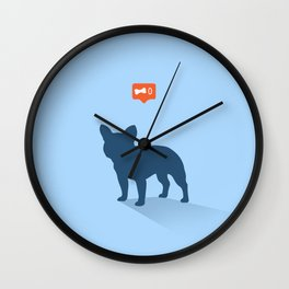 Frenchie Expectations - Baby Blue Wall Clock