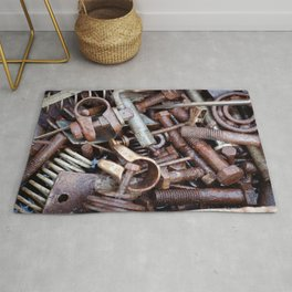 old rustry screw,nuts and bolt Rug