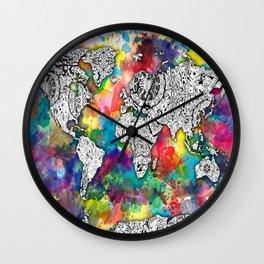 world map mandala colorful Wall Clock