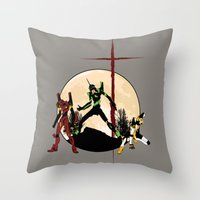evangelion Throw Pillows featuring Neon Genesis Evangelion - Hill Top by kamonkey