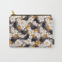 Waiting for the cherries II // Blackbirds brown background Carry-All Pouch