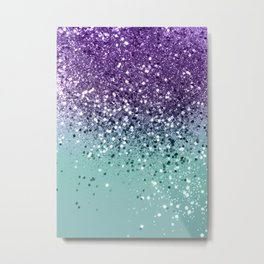 Purple Teal Mermaid Ocean Glitter #1 (Faux Glitter) #shiny #decor #art #society6 Metal Print