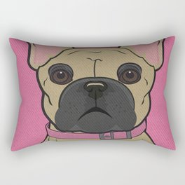 Icons of the Dog Park: French Bulldog Design in Bold Colors for Pet Lovers Rectangular Pillow