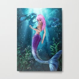 Manga Mermaid Metal Print