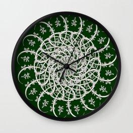 Mandala #104, Deep Green and White Wall Clock