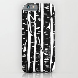 Woodcut Birches Black iPhone Case