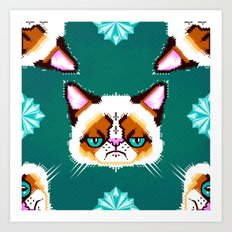 Grumpy Cat Geometric Pattern Art Print