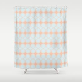 Pastel Pattern Dots and Gradient Baby Blue and Peach Orange Shower Curtain