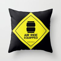 audi Throw Pillows featuring AIR RIDE EQUIPPED by shedpress