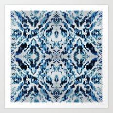 Peacock Tie-Dye Damask Art Print