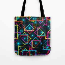 Bright rhombuses and squares with blue highlights in the intersection on a dark background. Tote Bag