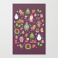 merry christmas Canvas Prints featuring Merry Christmas by Anna Alekseeva kostolom3000