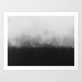 Minimalist Modern Black And white photography Landscape Misty Black Pine Forest Watercolor Effect Sp Art Print