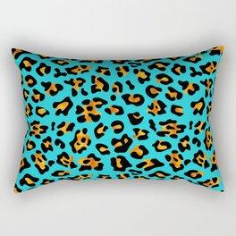Aqua Leopard Print retro fashion art pattern Rectangular Pillow