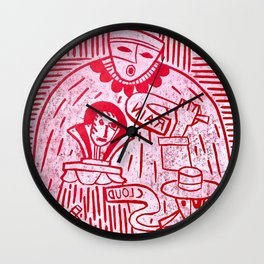 The Sign Holders - Red and White Wall Clock